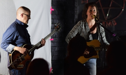 Jenny Lockyer & Matt Foster sing songs written for Egham Museum. Photo: Steve Cross